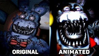 Five Nights at Freddy's 4 Jumpscares Original vs. Animated