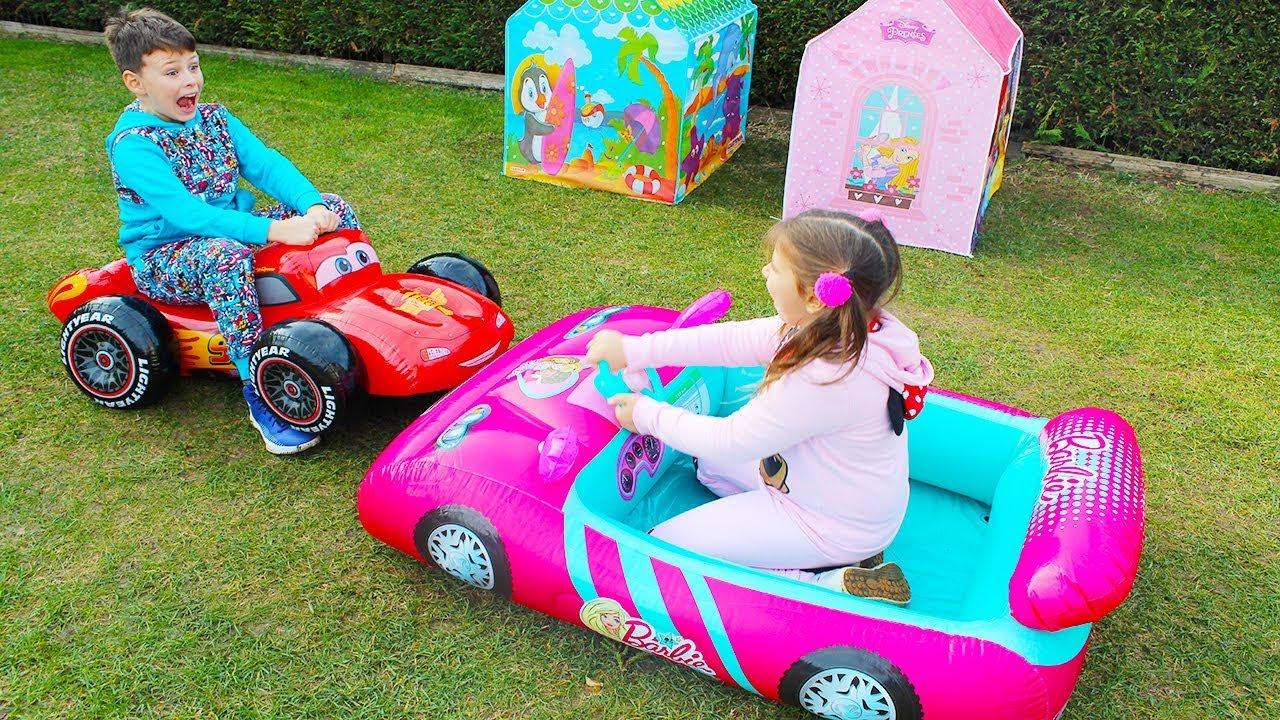 ALİNİN YENİ ARABALARI Barbie Car and McQueen Inflatable Disney Toy Cars