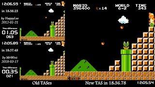 """[TAS Comparison] Super Mario Bros. """"warpless"""" in 18:36.78"""