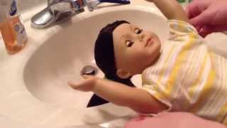 How to wash your american girl dolls hair!