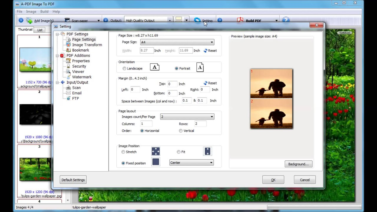 How to arrange multiple images in one page and convert it to PDF