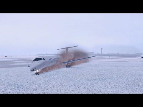 Embraer ERJ-145 Slides Off Runway - X-Plane 11