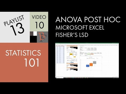 Statistics 101: ANOVA Post Hoc In Excel (Fisher's LSD)