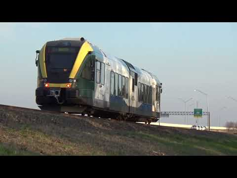 DCTA A-Trains Passing over Lewisville Lake