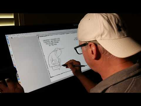 Drawing Donald Trump - editorial cartoon on Wacom Cintiq 27 QHD Touch