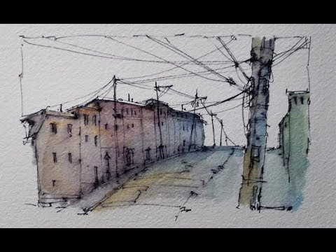 A pen and wash demonstration with Soluble Ink and Watercolour. Street Scene. Peter Sheeler