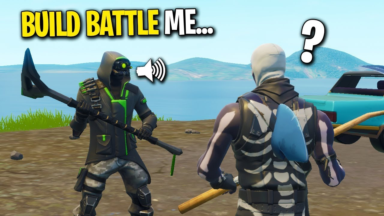 fake noob carried me in fortnite then challenged me to a build battle 1v1 - fortnite win faker