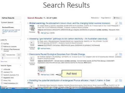 Searching online databases EbscoHost