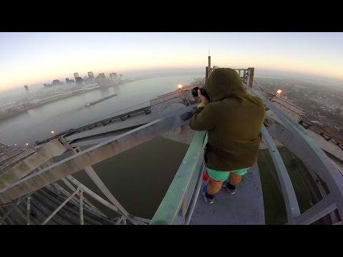 New Orleans Crescent city connection bridge climbing