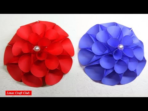 DIY Paper Dahlia Tutorial Flower | Dahlia Paper Flower With linascraftclub