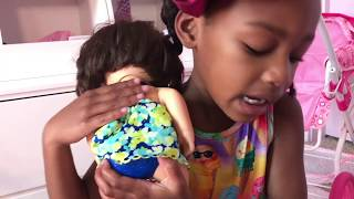 Baby Doli Bubble Bath and Changing with Cute Little Girl