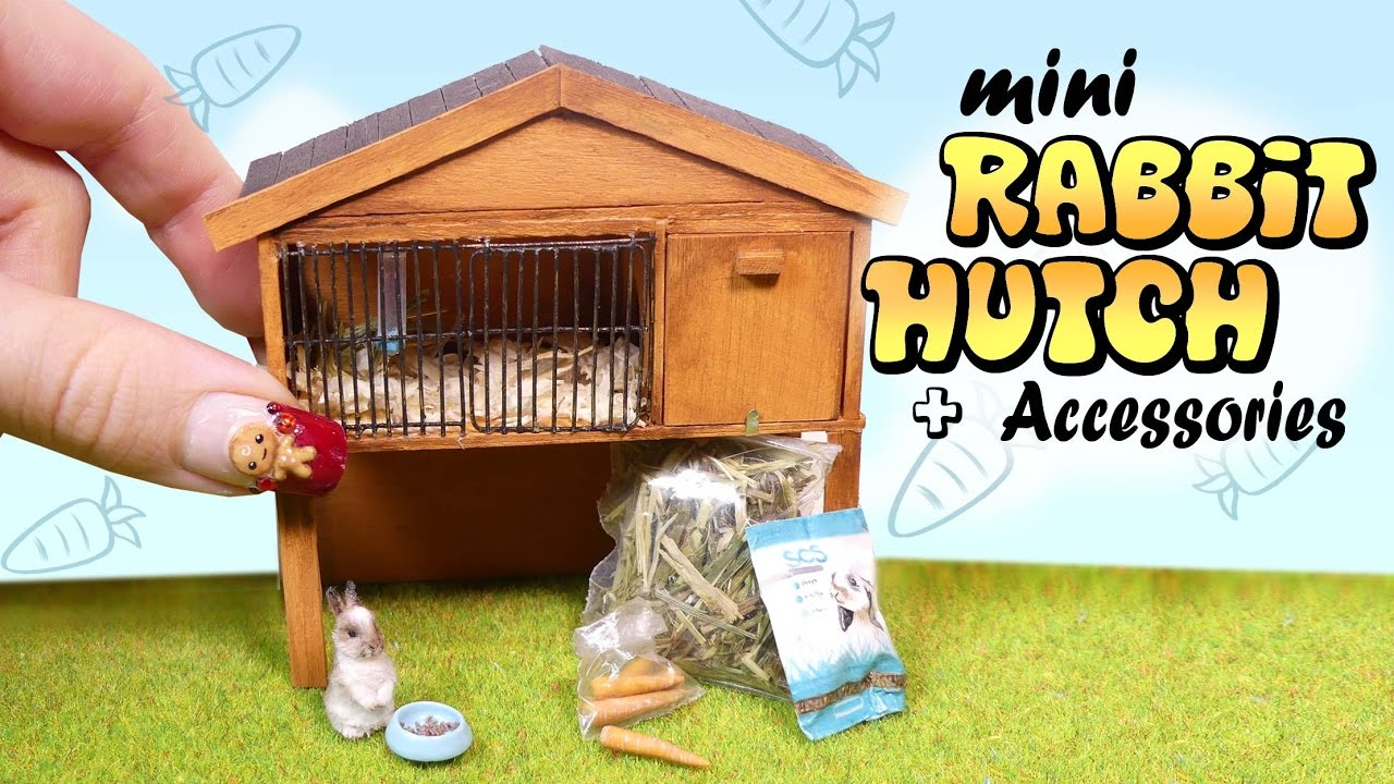 Miniature rabbit hutch accessories tutorial diy bunny for How to make a bunny hutch