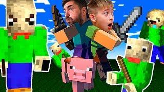 Какой БАЛДИ КРУЧЕ? Два Baldi в Майнкрафт Челлендж Папа и Ростя играют Minecraft letsplay