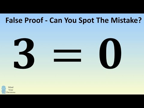 'Prove' 3 = 0. Can You Spot The Mistake?
