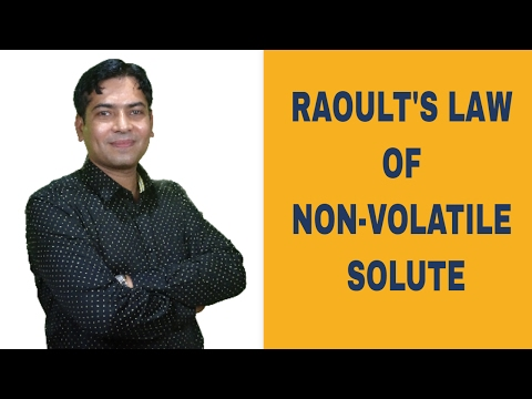 Raoult's Law Of Non Volatile Solute