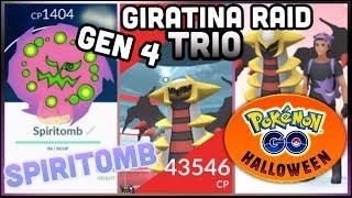 GIRATINA LEGENDARY RAID TRIO IN POKEMON GO | SPIRITOMB QUESTS | GIRATINA BROKEN STATS