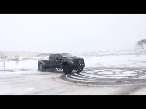 F450 Black Ops Dually Doing Donuts In The Snow