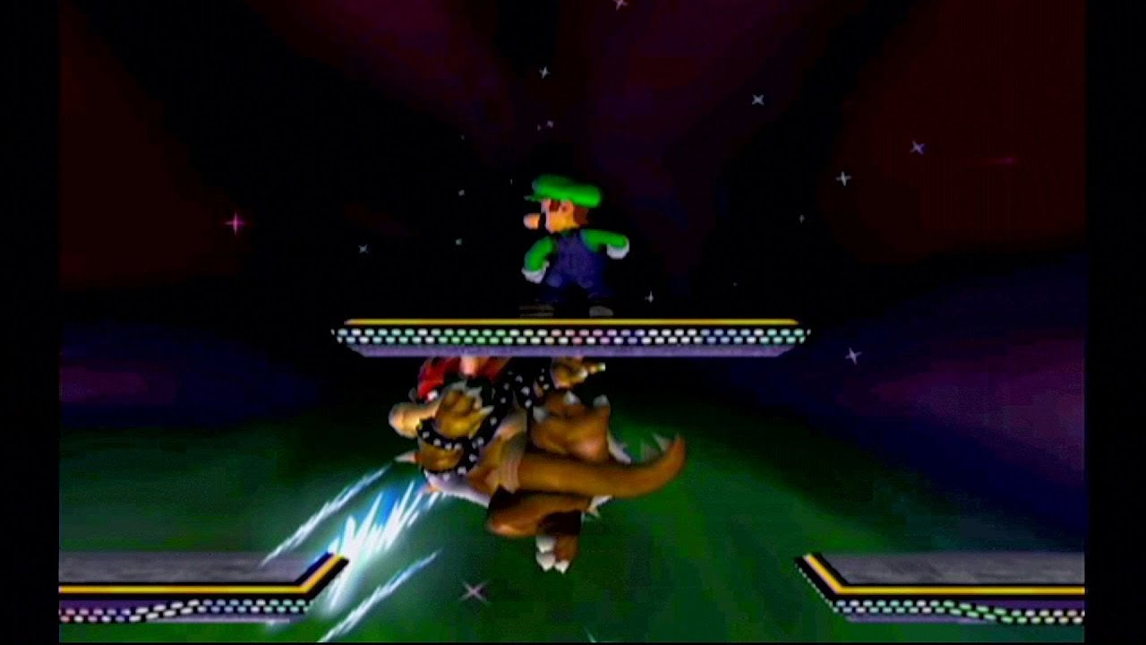 Melee - Level nine CPU Bowser can't reach a platform while Luigi does absolutely nothing