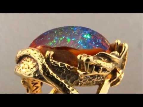 Star Fire Lagoon Matrix Fire Opal Dragon Ring