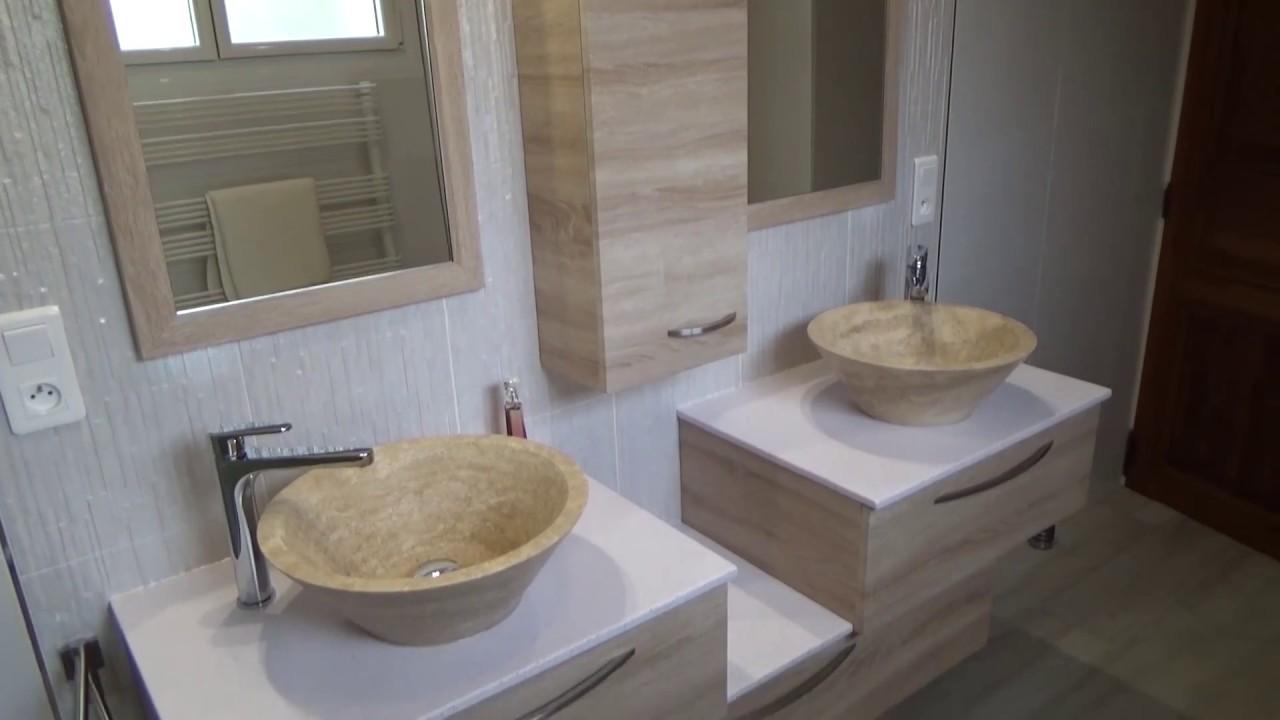 Meuble salle de bain d cal et vasque en pierre atlantic - Meuble salle de bain avec lavabo ...