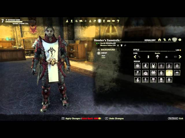 The Elder Scrolls Online How To Create A Guild Tabard Youtube