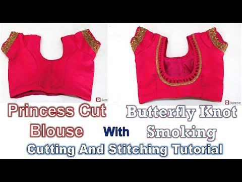 Princess Cut Blouse with Pad & Butterfly Knot Smoking | How To Tutorial | Diy