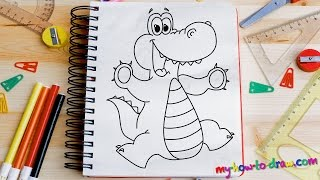 How to draw an Alligator - Easy step-by-step drawing lessons for kids