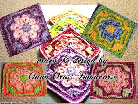 crochet african flower square By Oana
