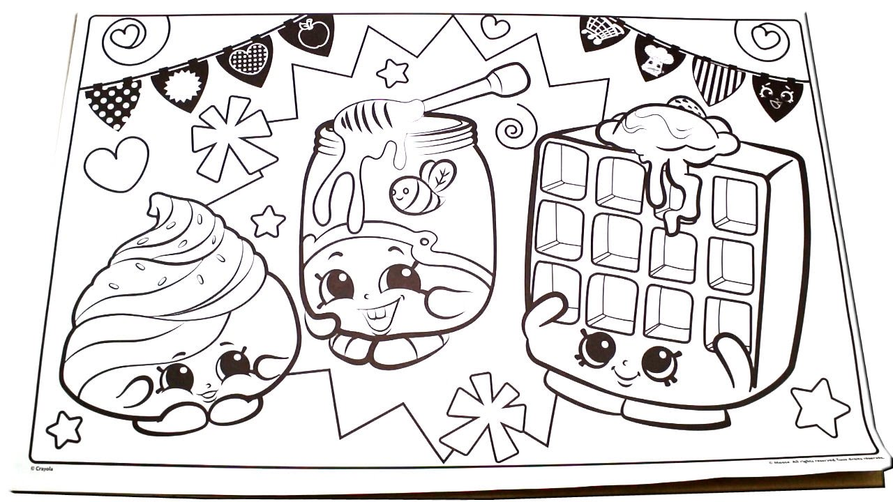 Lets color 1 shopkins mary meringue honeeey and waffle sue coloring page time lapse