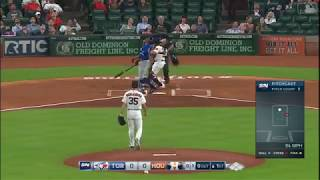 Curtis Granderson hits a foul ball that never comes down