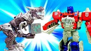Миссия Трансформеров - Автоботы и Динобот в видео с игрушками.