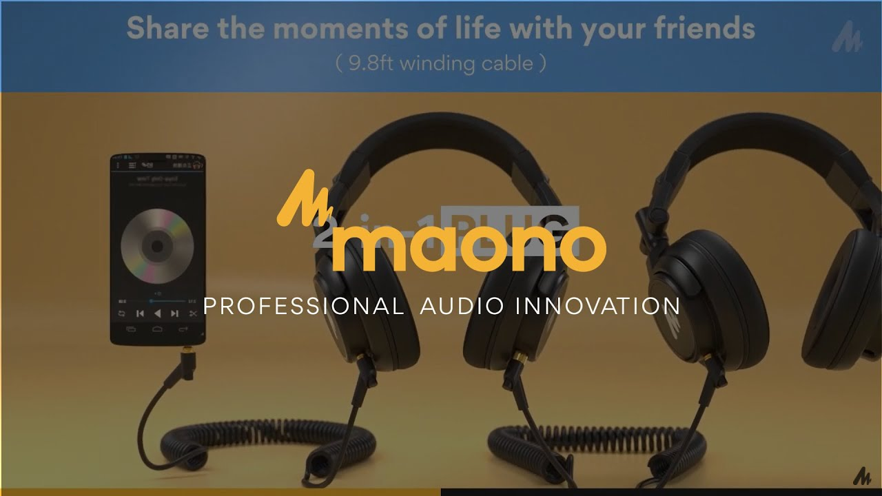 MAONO AU-MH601 Over Ear Stereo Monitor Closed Back Headphones for Music, DJ, Podcast