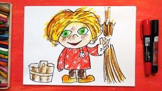 Как рисовать Домовенка Кузю | Русские сказки | Урок рисования для детей от 3 лет