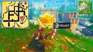 """Follow the Treasure Map found in Pleasant Park"" Location Fortnite Week 7 Challenges! (FORTNITE MAP)"