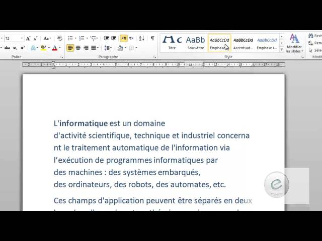 4 MS Word : l'onglet Accueil : Style & Modification
