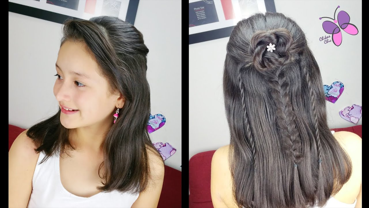 Flor y trenzas mixtas trenzas y peinados peinados - Peinados y trenzas ...