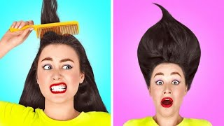 PROBLEMAS DEL CABELLO LARGO || ¡Tips coloridos para chicas! Situaciones graciosas por 123 GO! SCHOOL