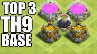 Clash of Clans - Top 3 Th9 Farming Base COC Best Town Hall 9 Defense