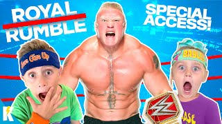 Behind the Scenes at the ROYAL RUMBLE! (+ WWE Trivia Family Game!) KIDCITY