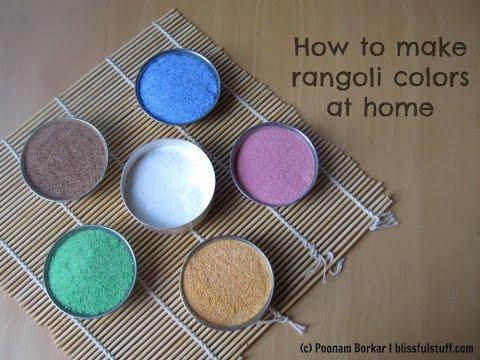 How to make rangoli colors at home | DIY Rangoli colors using rice flour and salt| Easy rangoli