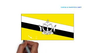 How to draw Brunei Darussalam Flag