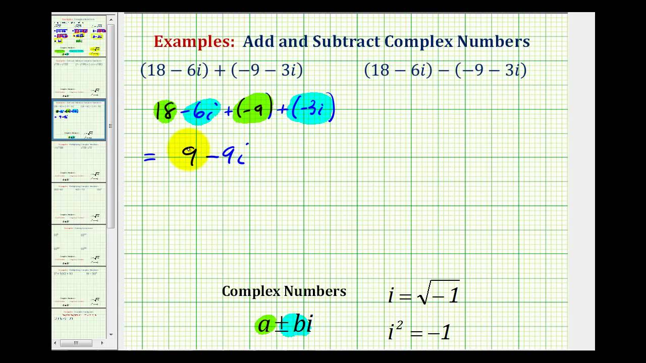 Ex 1 Adding and Subtracting Complex Numbers   YouTube