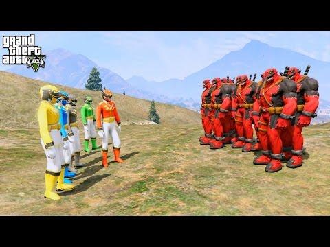 POWER RANGERS VS VENOMPOOL ARMY (GTA 5 Mods Funny Moments)