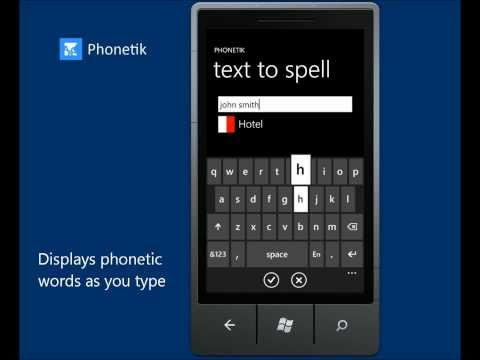 Spell using the phonetic alphabet with Phonetik for Windows Phone