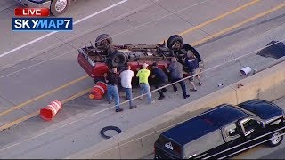 Good Samaritans Flip Truck, Rescue Driver After Rollover Crash