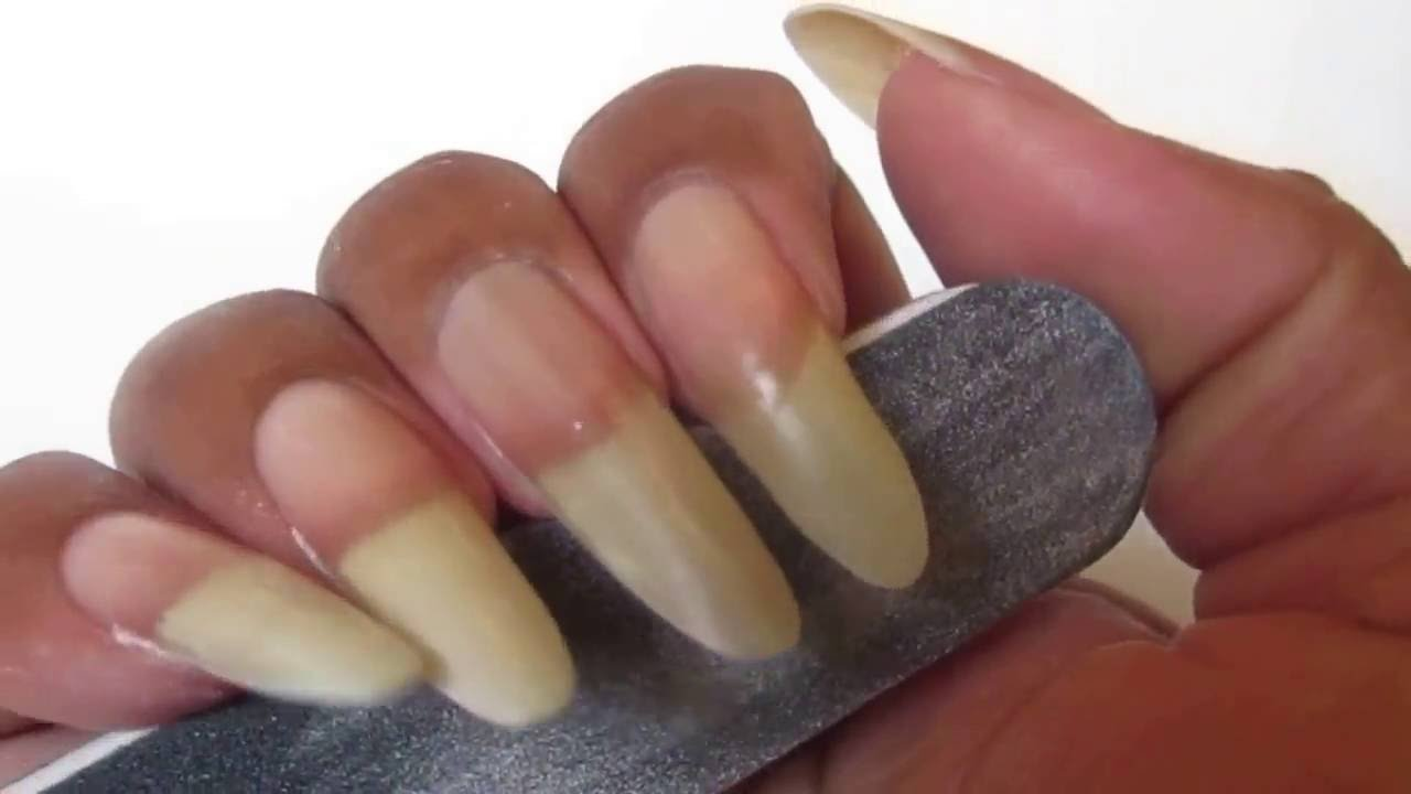 Filing and Maintaining My Natural Almond Shape Nails - YouTube