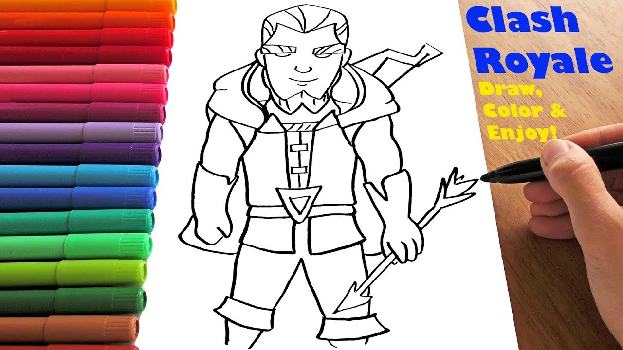 Easy Magic Archer Drawing Clash Royale Coloring Page How To Draw And Color Youtube