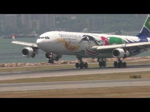 south african airlines a340 landing slow motion hong kong airport