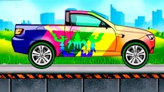 Мультик раскраска. Учим цвета и виды машин 2 серия. Мультики про машинки.