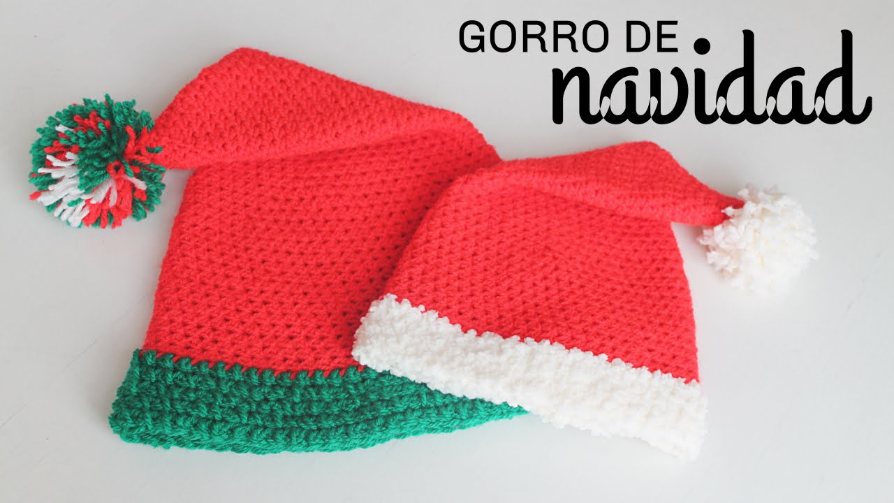 Gorro de Navidad a Crochet ··· How to crochet a Santa Hat - YouTube